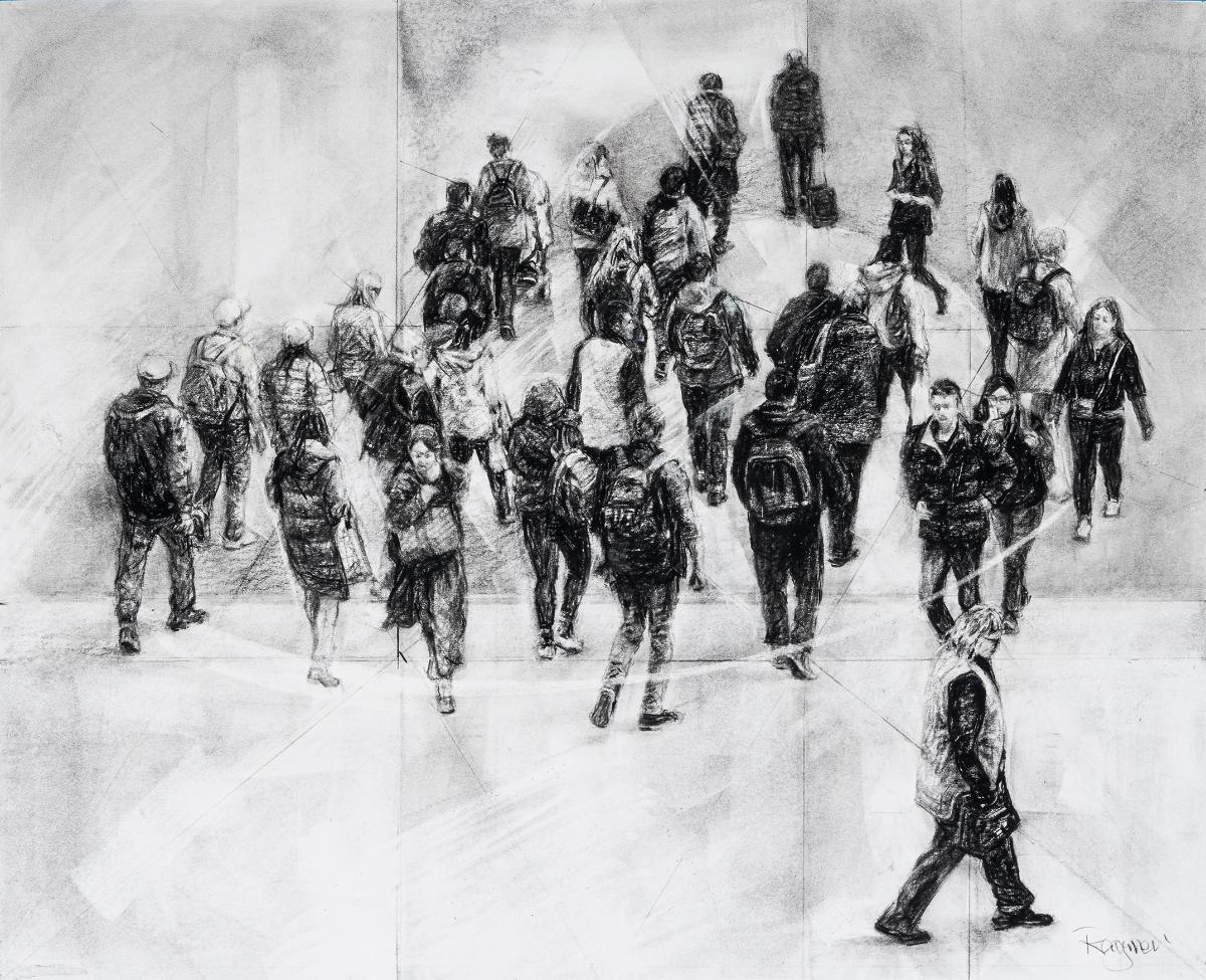 20 Raymerl Flinders Street Crossing Iv Charcoal On Paper 44x88