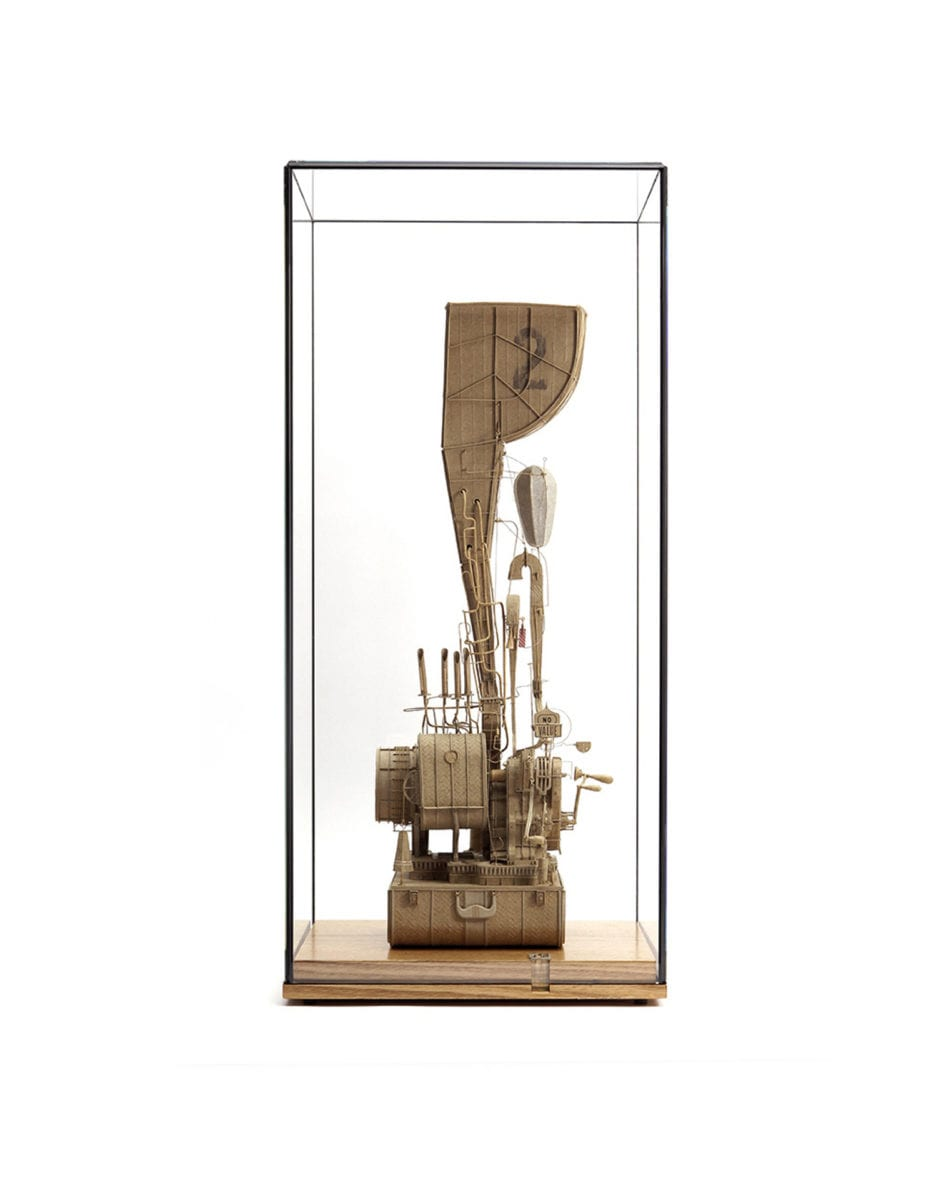 Daniel Agdag, Machine Instrument No 2 2018, Boxboard, paper, hermle carriage movement, mounted on Victorian Ash base, under low iron glass vitrine, 30 x 30 x 65cm. Courtesy of the artist.