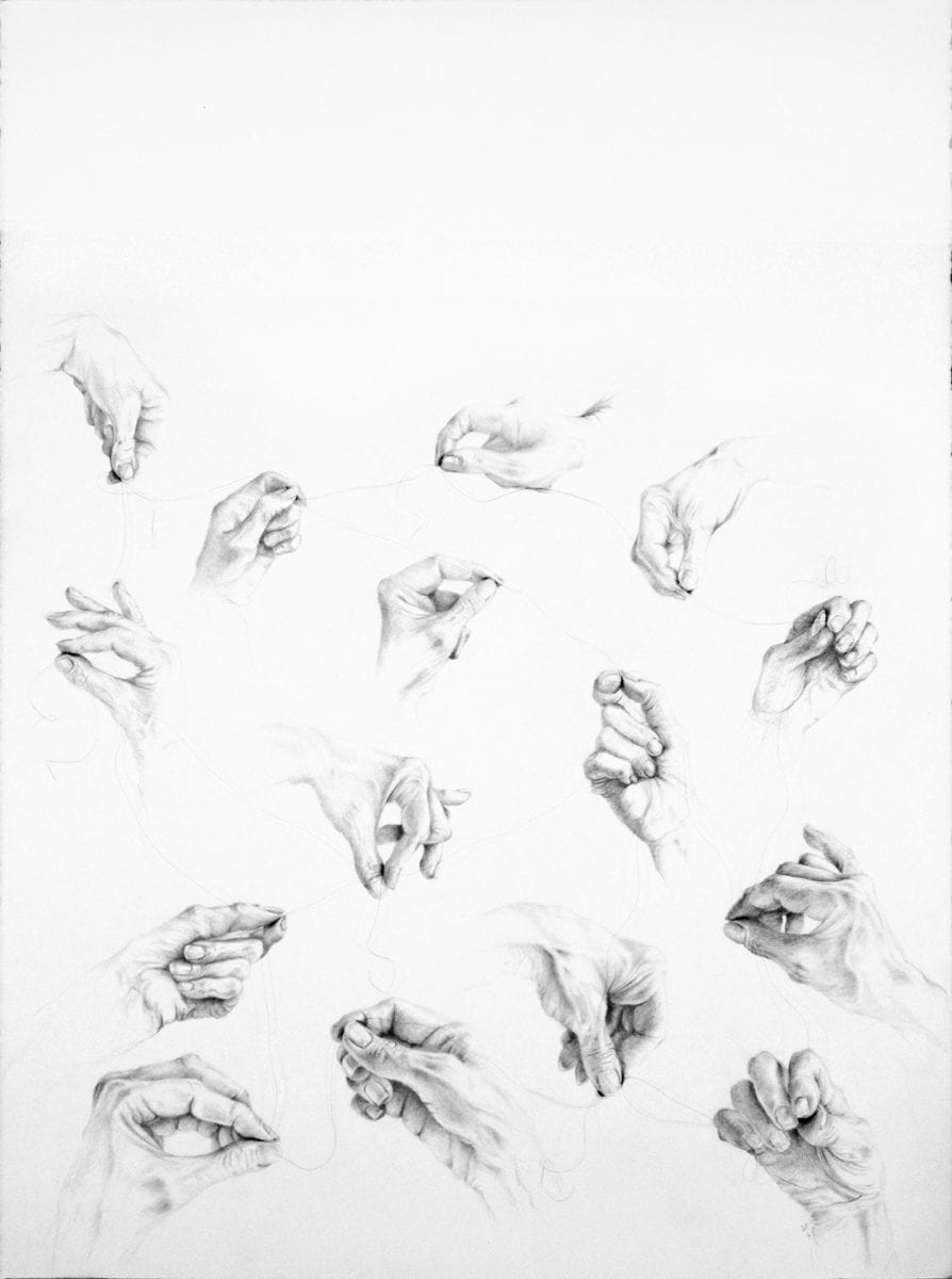 Lanej Untitled Co Operation Graphite And Humanhair 76 X 56 Cm