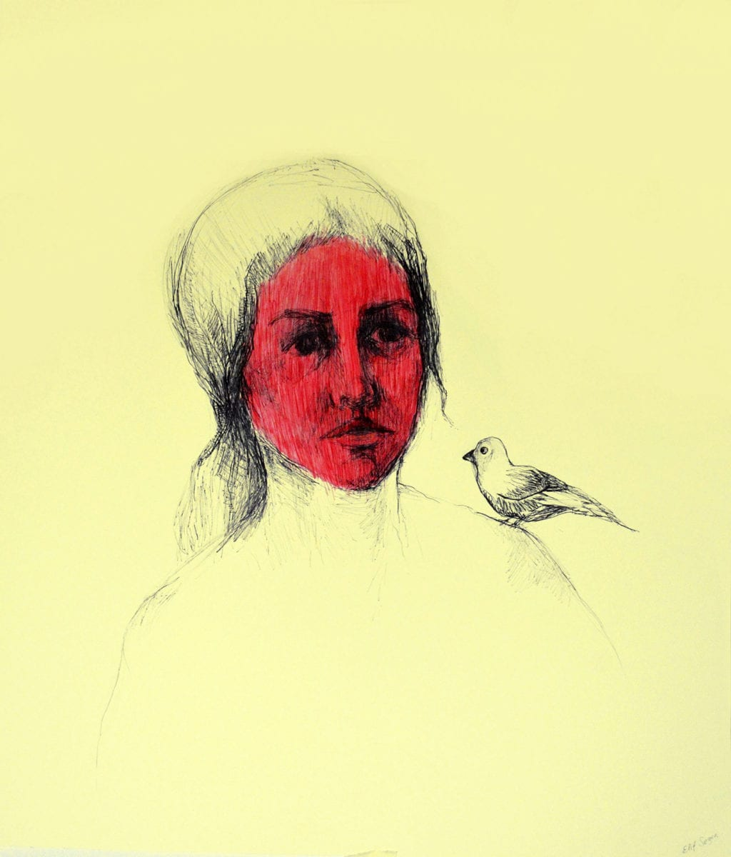 Sezene Unknown Woman With A Bird Pen And Ink On Paper 63x55cm