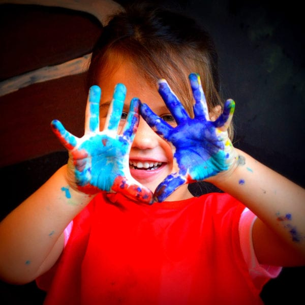 Harper With Painted Hands