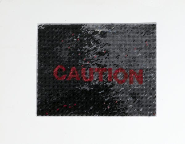 Caution (2020) Hand Stitching, Mixed Yarn On Perforated Plastic, 26.5x33cm