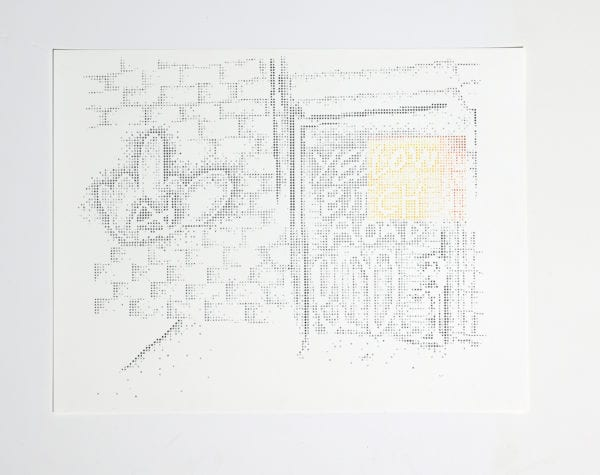 Low Road (2020) Hand Mark Making, Ink On Paper, 50x65cm